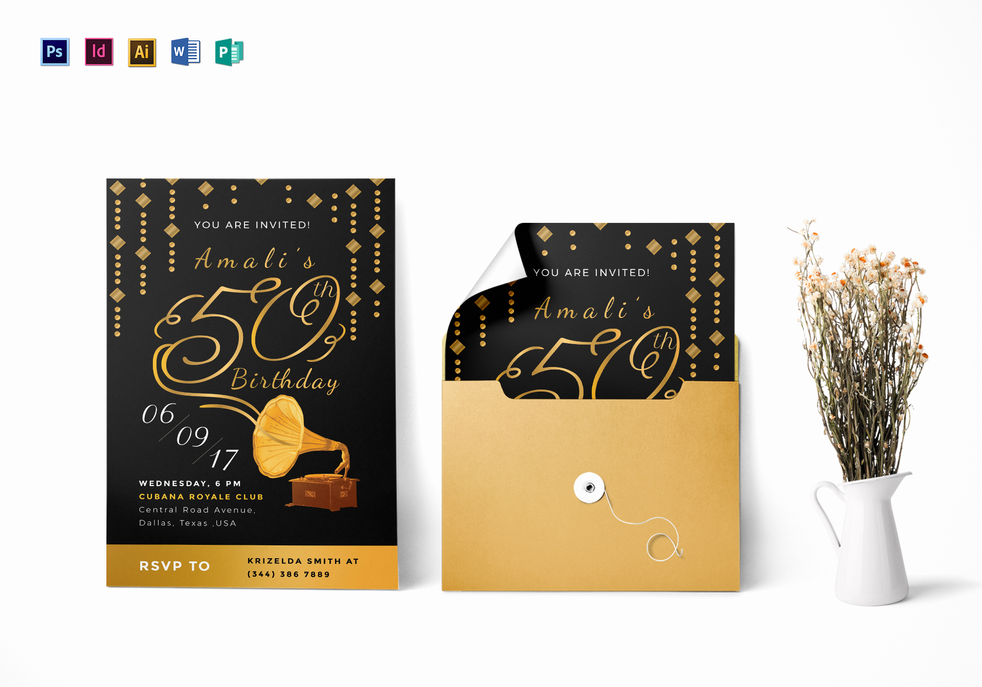 50th Birthday Invitation Templates Word Unique Golden Gramophone 50th Birthday Party Invitation Design