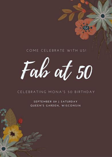 50th Birthday Party Invitation Ideas Elegant 50th Birthday Invitation Templates Canva