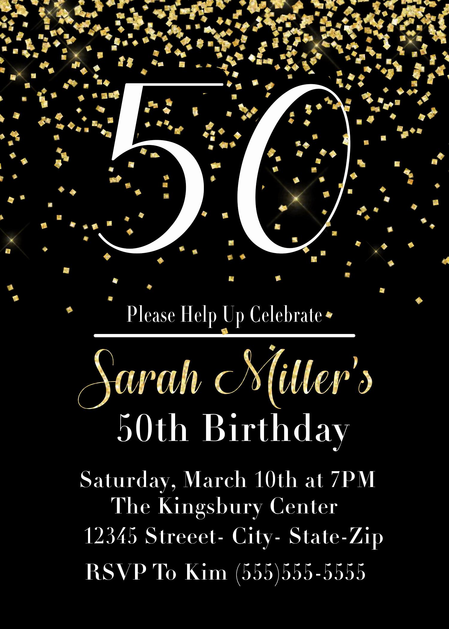 50th Birthday Party Invitation Ideas New Printable 50th Birthday Party Invitation In Black and Gold