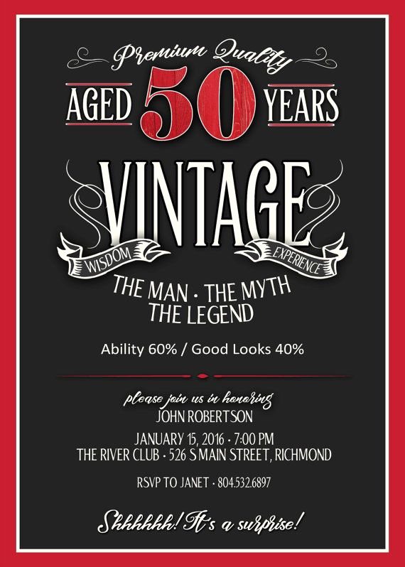 50th Birthday Party Invitation Wording Elegant 50th Birthday Invitation for Men Jpeg Printable Aged