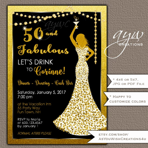 50th Birthday Party Invitation Wording Elegant 50th Birthday Party Invitations Woman Bling Dress 40th Womans