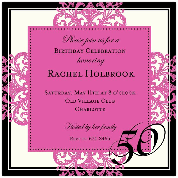 50th Birthday Party Invitation Wording Fresh Decorative Square Border Green 50th Birthday Invitations