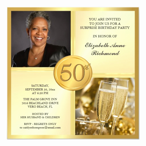 50th Birthday Party Invitation Wording Fresh Elegant Gold 50th Birthday Party Invitations