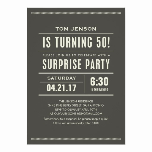 50th Birthday Party Invitation Wording Fresh Surprise 50th Birthday Party Invitations