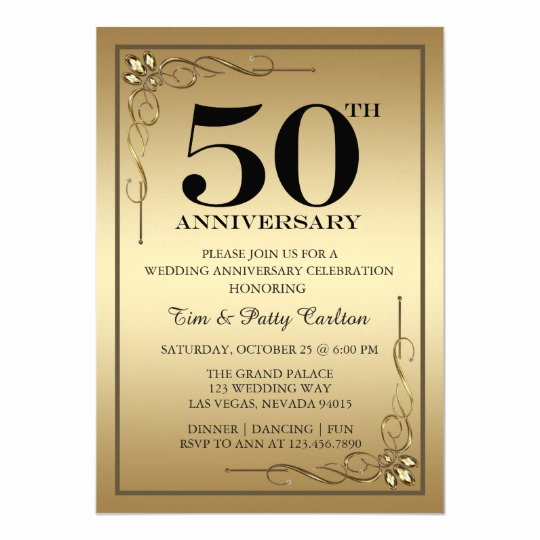 50th Wedding Anniversary Invitation Awesome Gold 50th Wedding Anniversary Party Invitation