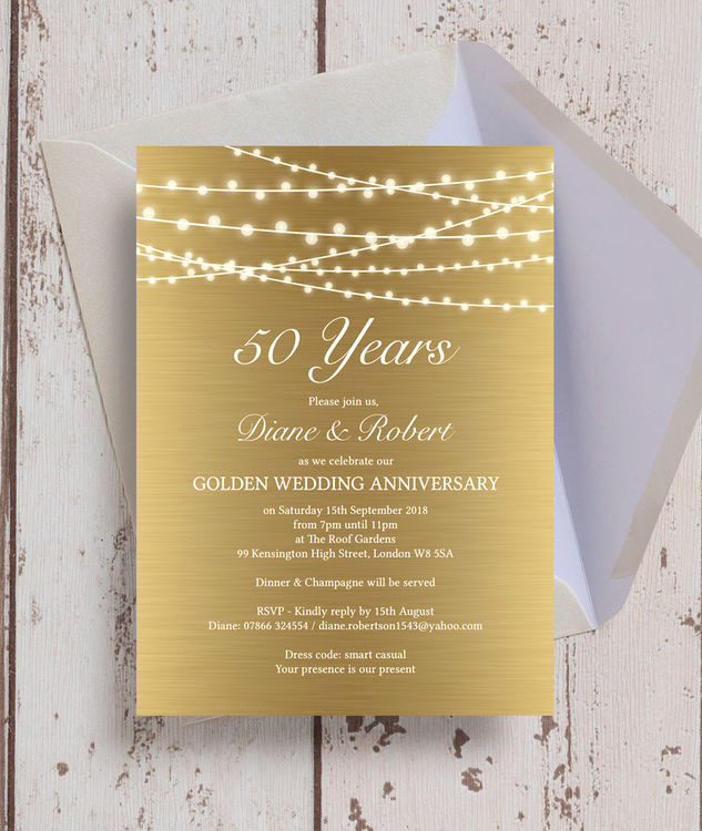 50th Wedding Anniversary Invitation Best Of Gold Fairy Lights 50th Golden Wedding Anniversary