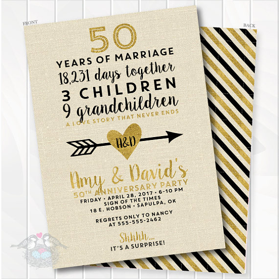 50th Wedding Anniversary Invitation Elegant Golden Wedding Anniversary Invitation 50th Anniversary