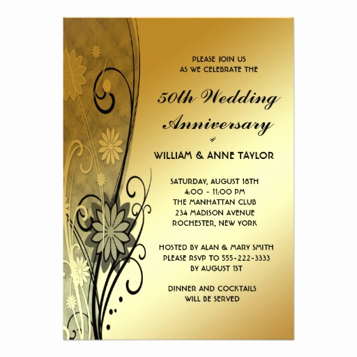 "50th Wedding Anniversary Invitation New Gold Flower Swirls 50th Anniversary Invitations 5"" X 7"
