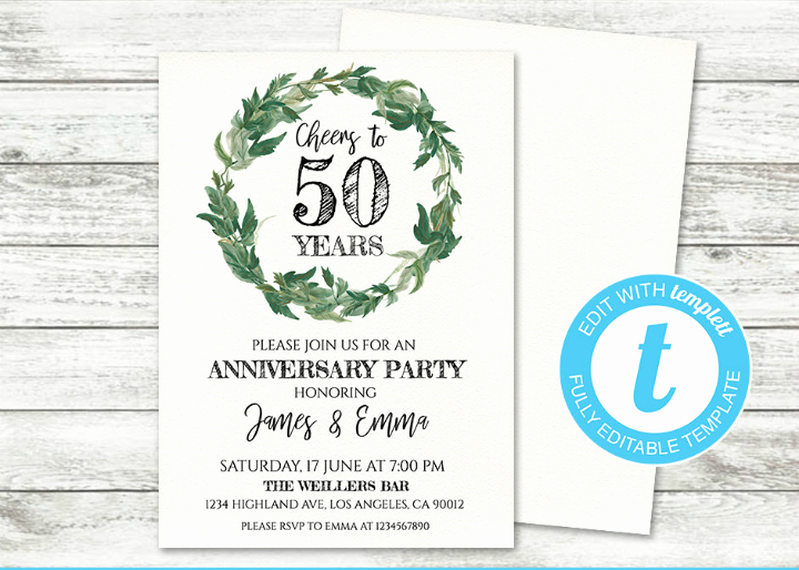 50th Wedding Anniversary Invitation Template Best Of 32 50th Wedding Anniversary Invitation Designs