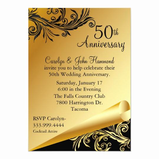 50th Wedding Anniversary Invitation Template Best Of Black & Gold 50th Wedding Anniversary Invitation
