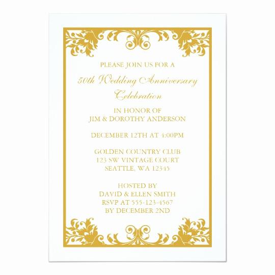 50th Wedding Anniversary Invitation Template Elegant 50th Wedding Anniversary Gold Flourish Scroll Card
