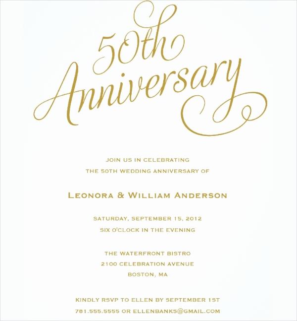 50th Wedding Anniversary Invitation Template New 23 Wedding Anniversary Invitation Card Templates Word