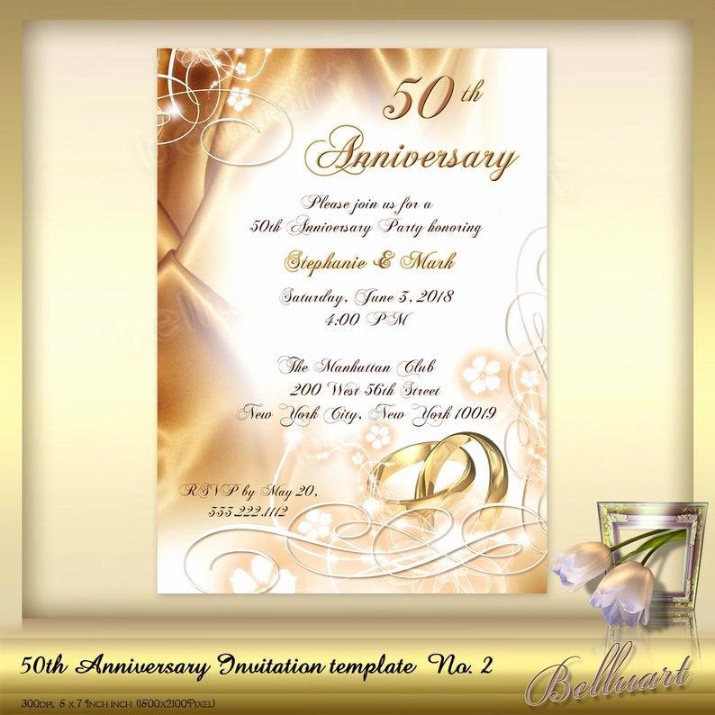 50th Wedding Anniversary Invitation Template Unique 50th Anniversary Invitation Template No 2 Golden Wedding