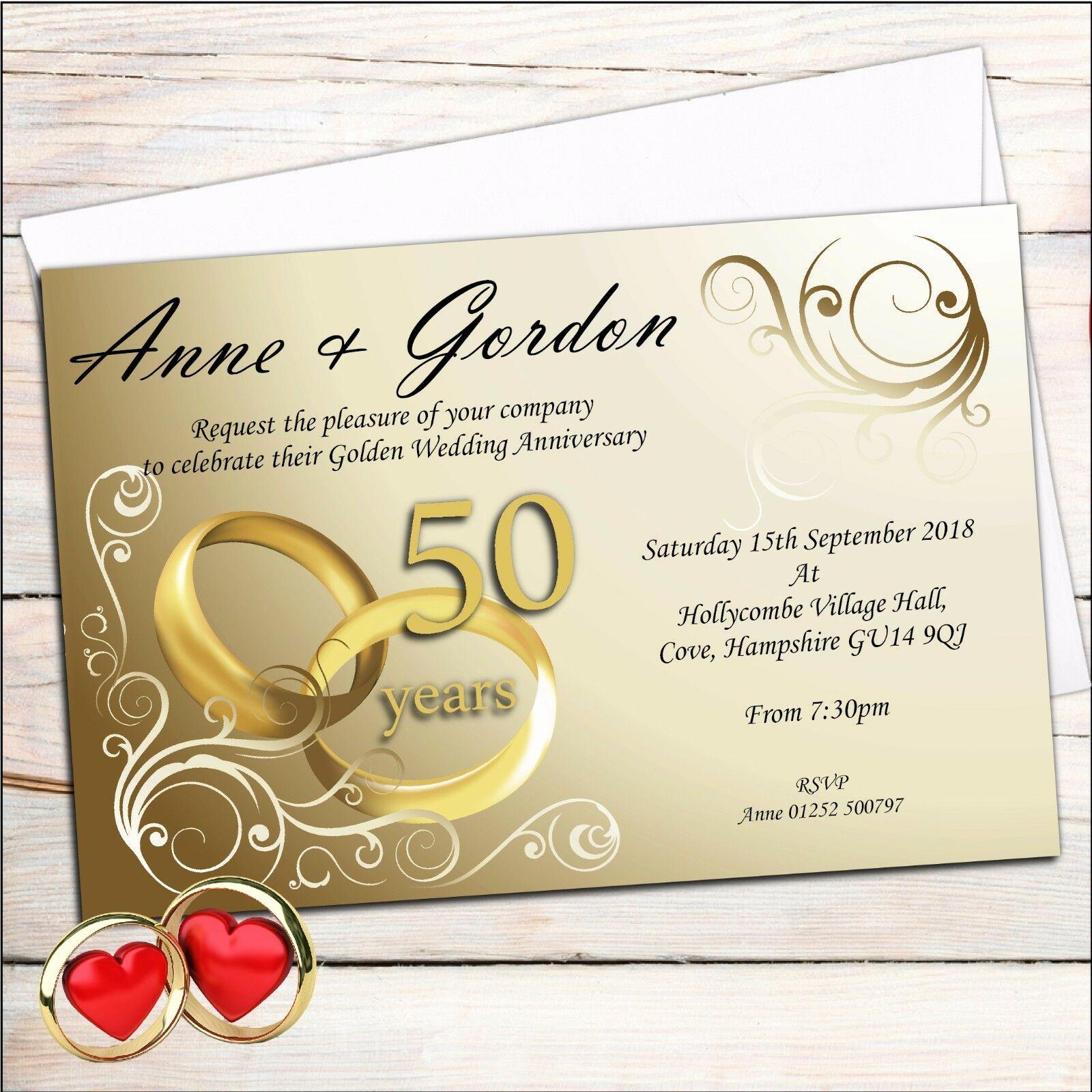 50th Wedding Anniversary Invitation Unique 10 Personalised Elegant Golden 50th Wedding Anniversary