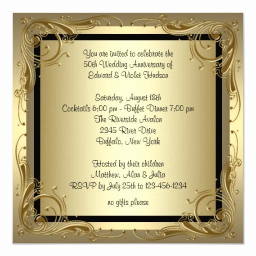 50th Wedding Anniversary Invitation Unique Elegant Gold 50th Wedding Anniversary Party Invitation