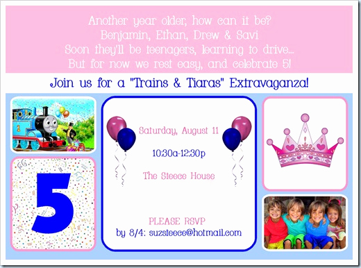 "5th Birthday Invitation Message Awesome Steece S Pieces ""trains & Tiaras"" Quads' 5th Birthday theme"