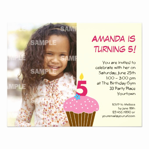 "5th Birthday Invitation Message Best Of Sweet Cupcake 5th Birthday Party Invitation 4 25"" X 5 5"