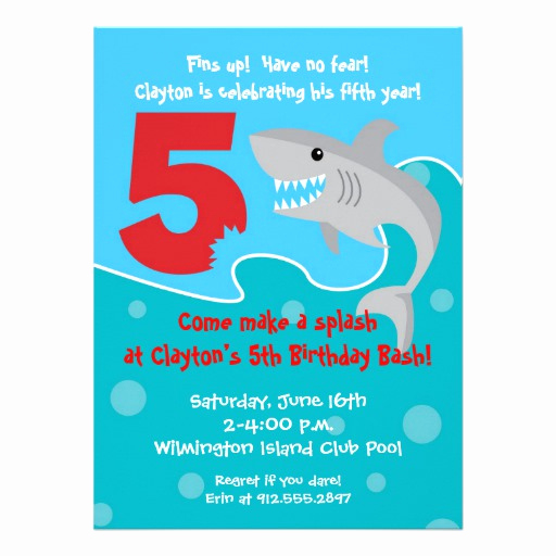 "5th Birthday Invitation Message Fresh Shark Bite Invite 5th Birthday Party 5 5"" X 7 5"