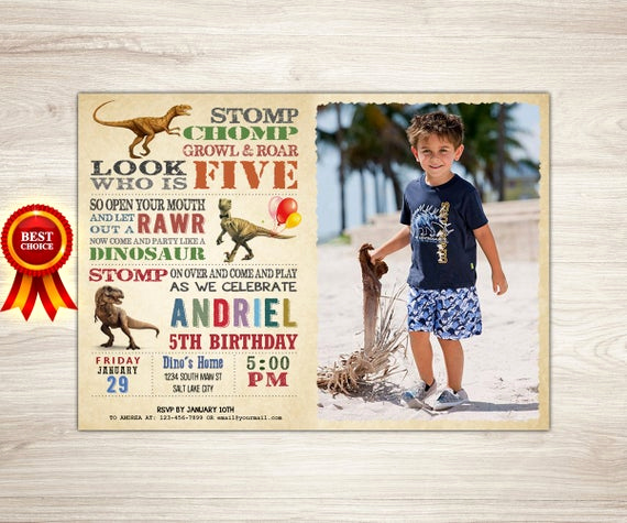 5th Birthday Invitation Message Inspirational Boy Dinosaur Invitation Boy Dinosaur 5th Birthday Invitation