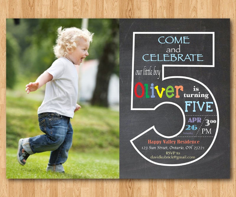 5th Birthday Invitation Message Inspirational Chalkboard 5th Birthday Invitation with Picture Fifth
