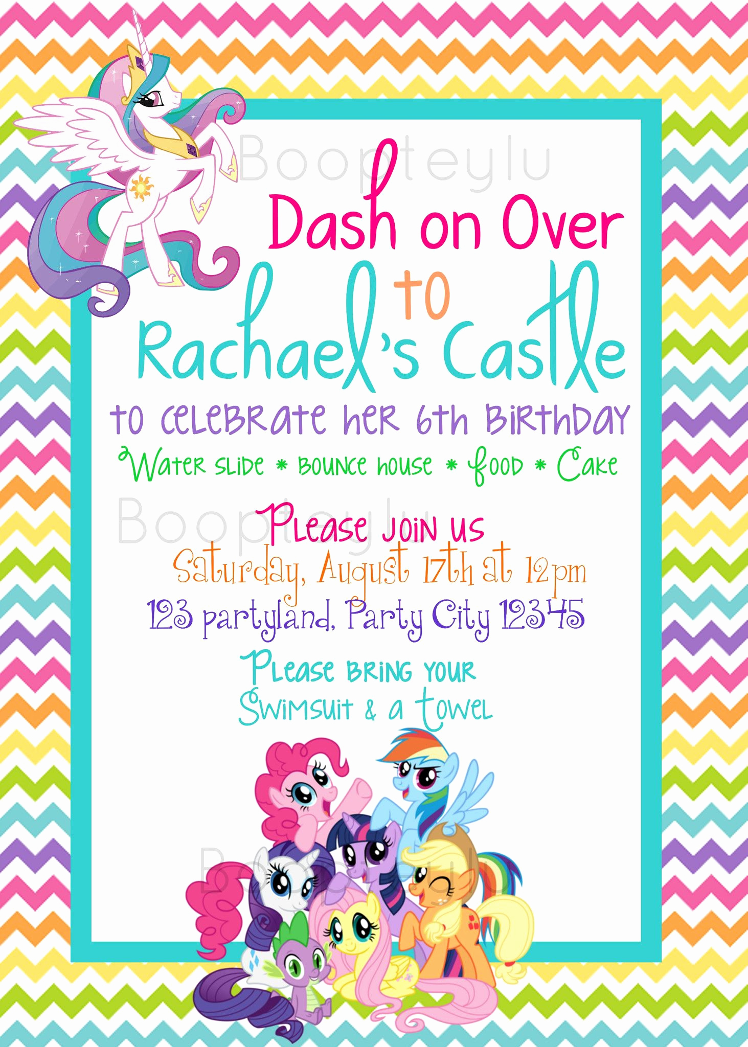 5th Birthday Invitation Message Lovely My Little Pony Mlp Birthday Invitation Birthday Invite