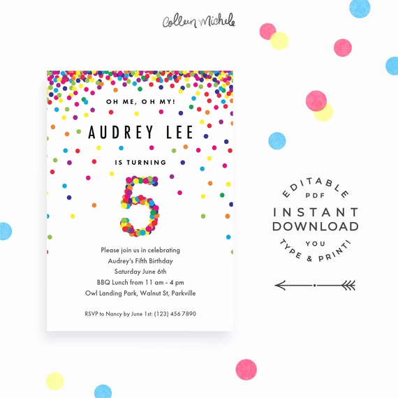 5th Birthday Invitation Message Luxury Rainbow 5th Birthday Party Invitation Instant Download