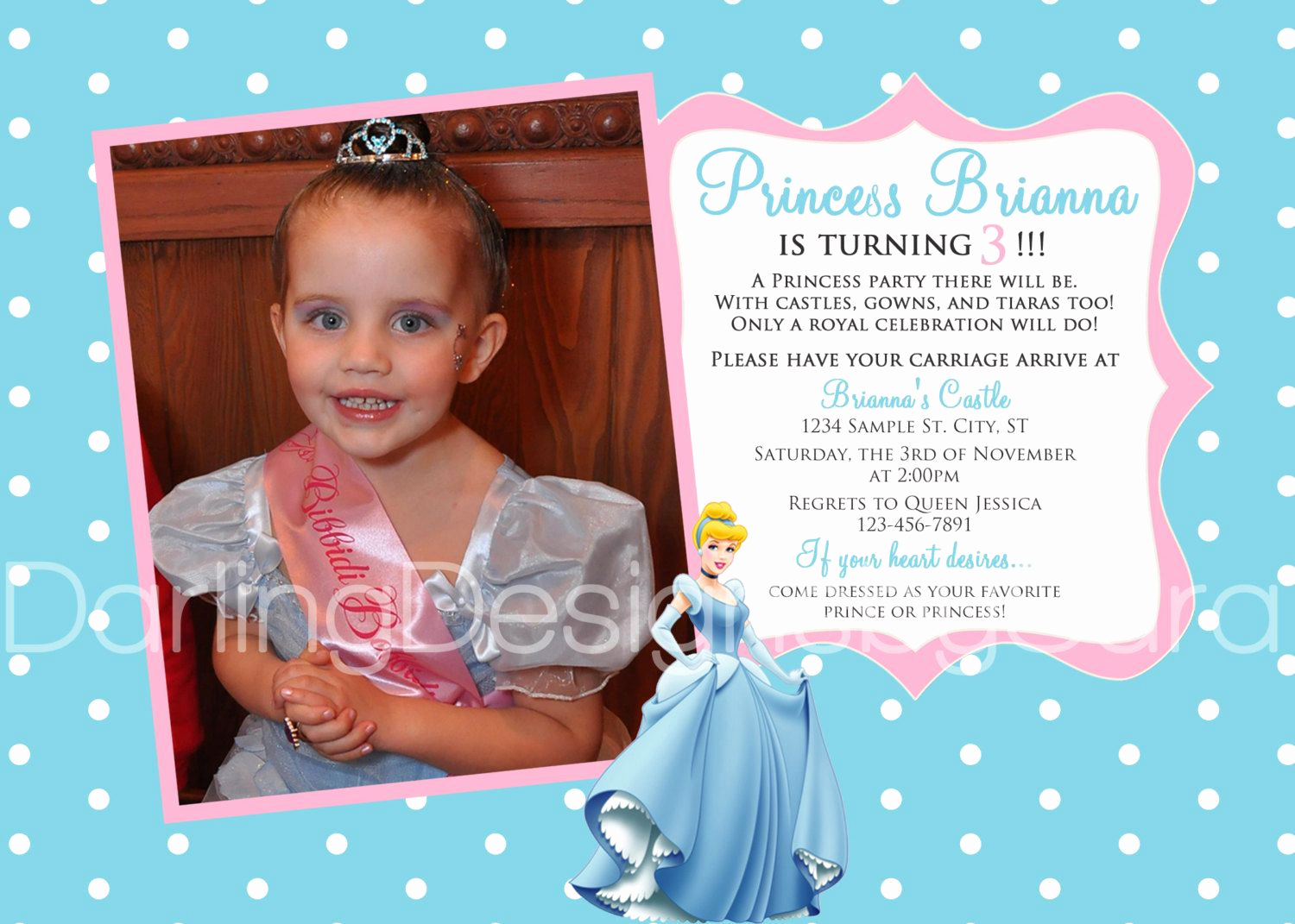 5th Birthday Invitation Message New Cinderella Party Invitation Wording