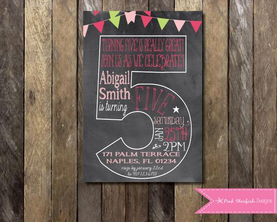 5th Birthday Invitation Wording Awesome Chalkboard Invitation Chalkboard Fifth Birthday Invitation
