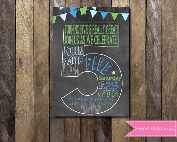5th Birthday Invitation Wording Best Of Chalkboard Fifth Birthday Invitation 5th Birthday Invitation