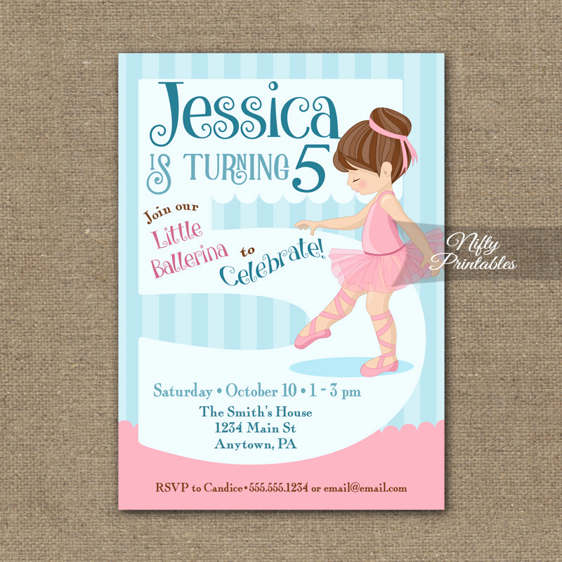 5th Birthday Invitation Wording Elegant 5th Birthday Invitation Ballerina Tutu Invitation