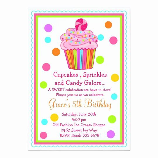 5th Birthday Invitation Wording Elegant Surprise Candy Cupcake Birthday Invitation