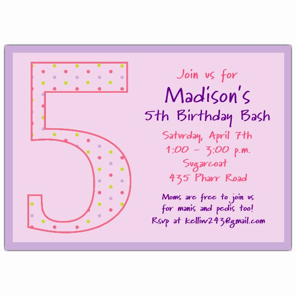 5th Birthday Invitation Wording Fresh 5th Birthday Girl Dots Birthday Invitations