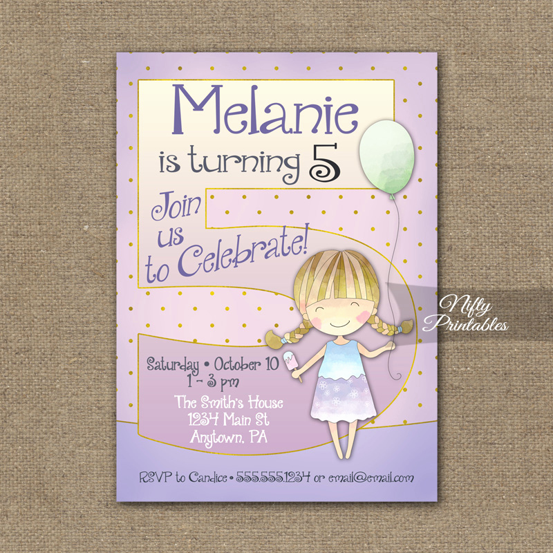 5th Birthday Invitation Wording Fresh 5th Birthday Invitation Balloon Girl Birthday Invitation