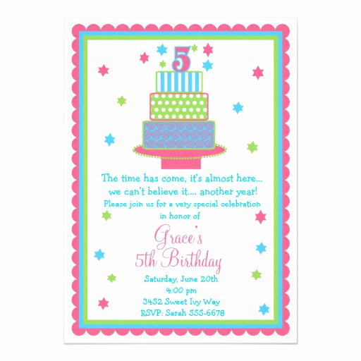 5th Birthday Invitation Wording Fresh 5th Birthday Party Invitations