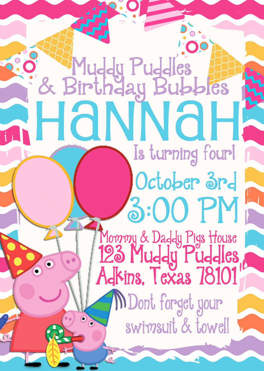 5th Birthday Invitation Wording Luxury Peppa Pig Birthday Invitation by Tandedesigns On Etsy