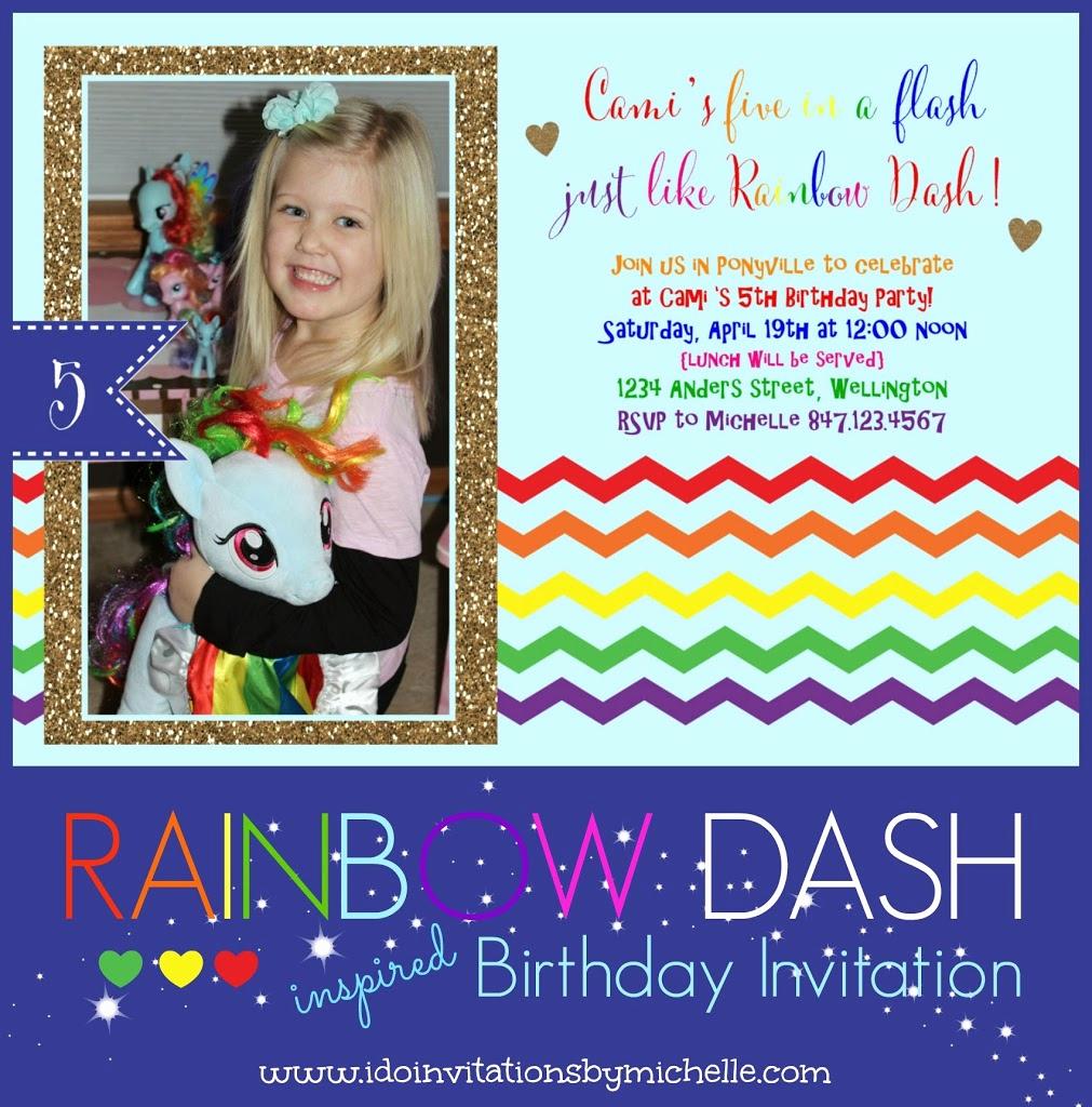 5th Birthday Party Invitation Beautiful Cami S 5th Birthday Invitation Rainbow Dash – Ellery Designs