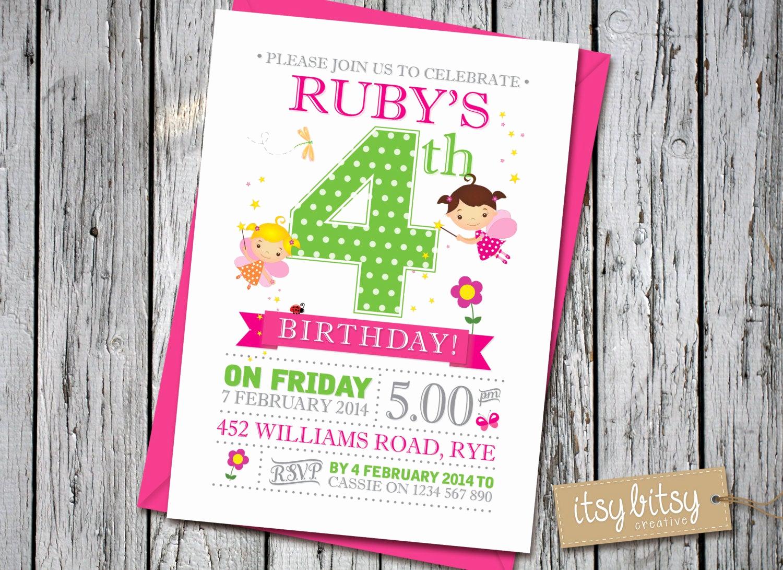 5th Birthday Party Invitation Beautiful Fairy Birthday Invitation 4th Birthday Fairy Invitation 5th