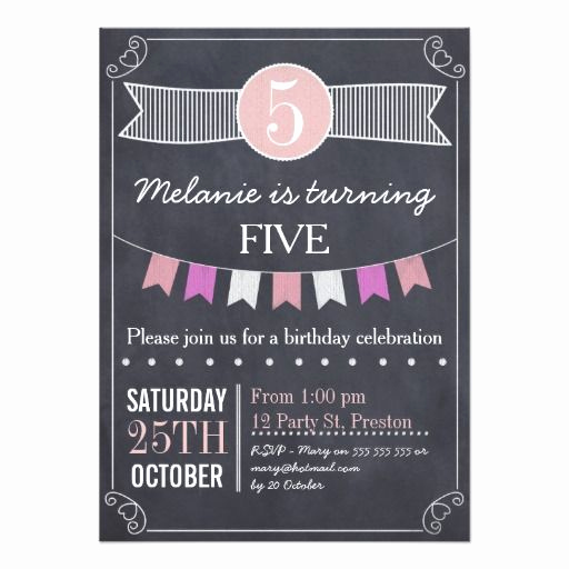 5th Birthday Party Invitation Beautiful Girls Chalkboard Bunting Birthday Party Invitation