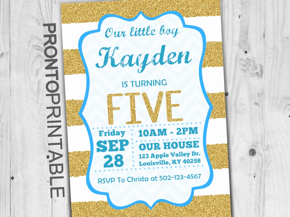 5th Birthday Party Invitation Elegant Fifth Birthday Invitation Boy Fifth Birthday Invitation 5th