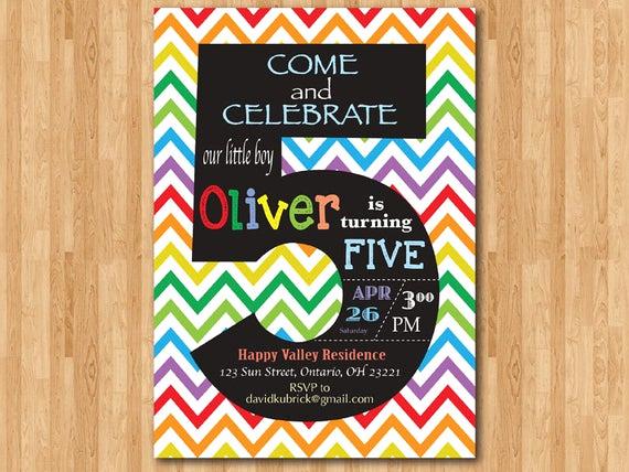 5th Birthday Party Invitation Elegant Rainbow 5th Birthday Invitation Colorful Chevron Birthday