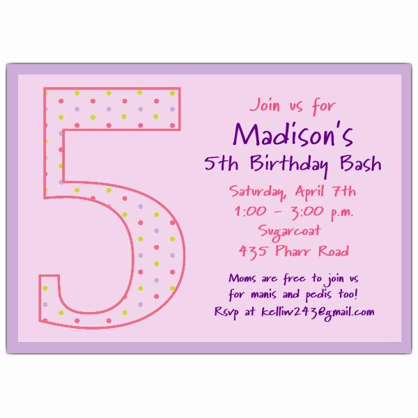 5th Birthday Party Invitation Fresh 5th Birthday Girl Dots Birthday Invitations
