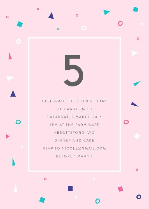 5th Birthday Party Invitation Lovely 5th Birthday Invitations