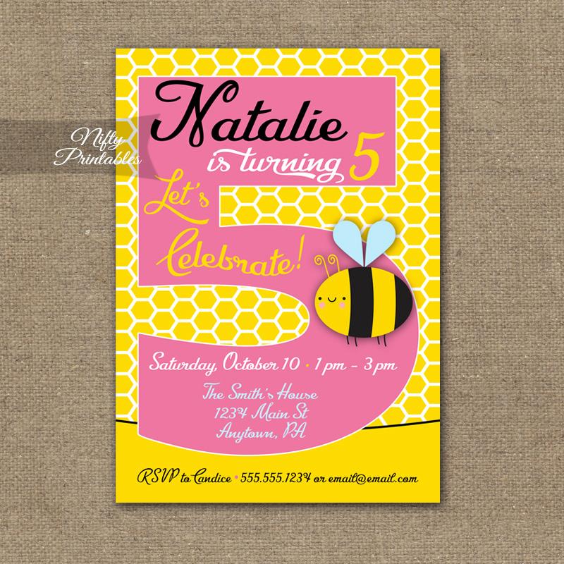 5th Birthday Party Invitation New 5th Birthday Invitation Bumble Bee Birthday Invitations