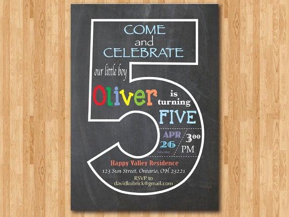 5th Birthday Party Invitation New Chalkboard 5th Birthday Invitation Fifth Birthday Invite