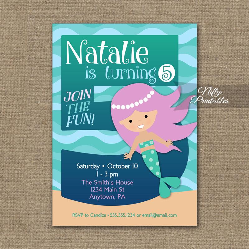 5th Birthday Party Invitation Unique 5th Birthday Invitation Mermaid Birthday Invitations