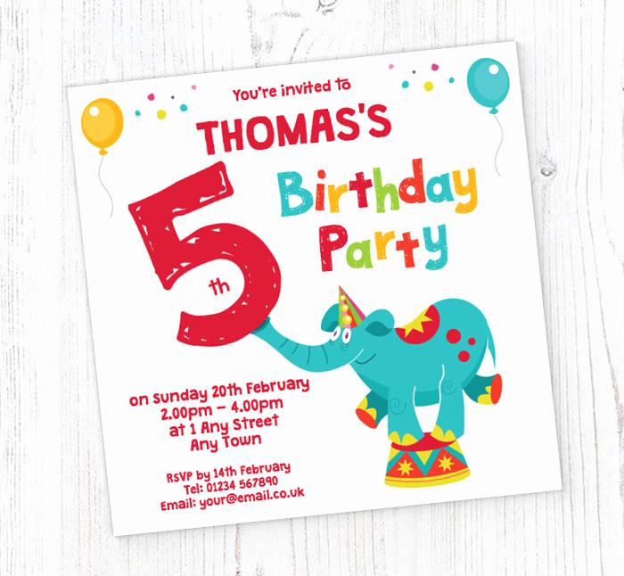 5th Birthday Party Invitation Unique Elephant 5th Birthday Party Invitations