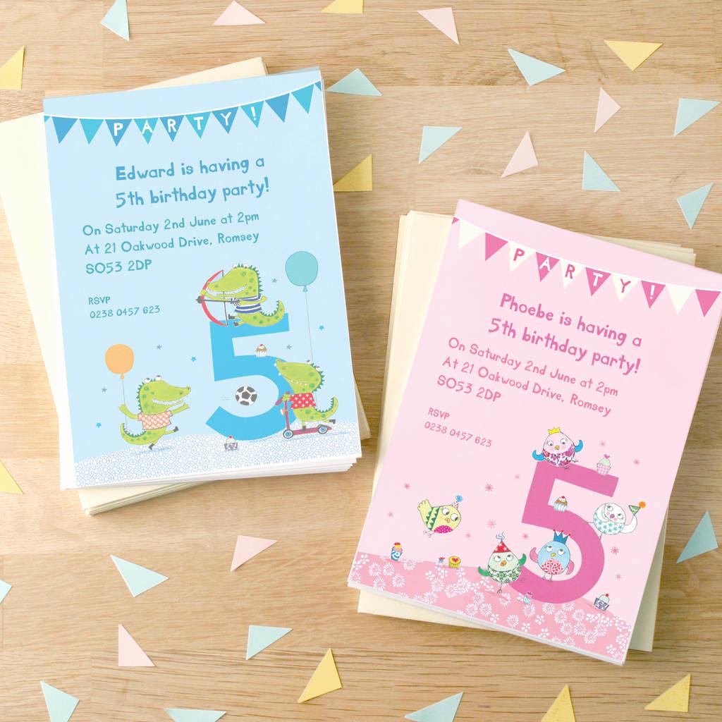 5th Birthday Party Invitation Unique Personalised Fifth Birthday Party Invitations by Made by