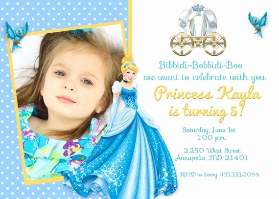 5th Birthday Party Invitation Wording Awesome Cinderella Birthday Party Invitation