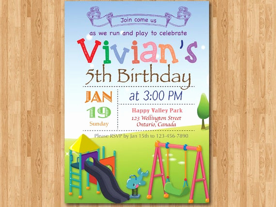 5th Birthday Party Invitation Wording Best Of Playground Birthday Invitation Kids Park Birthday Party