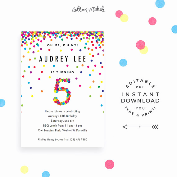 5th Birthday Party Invitation Wording Fresh Rainbow 5th Birthday Party Invitation Instant Download